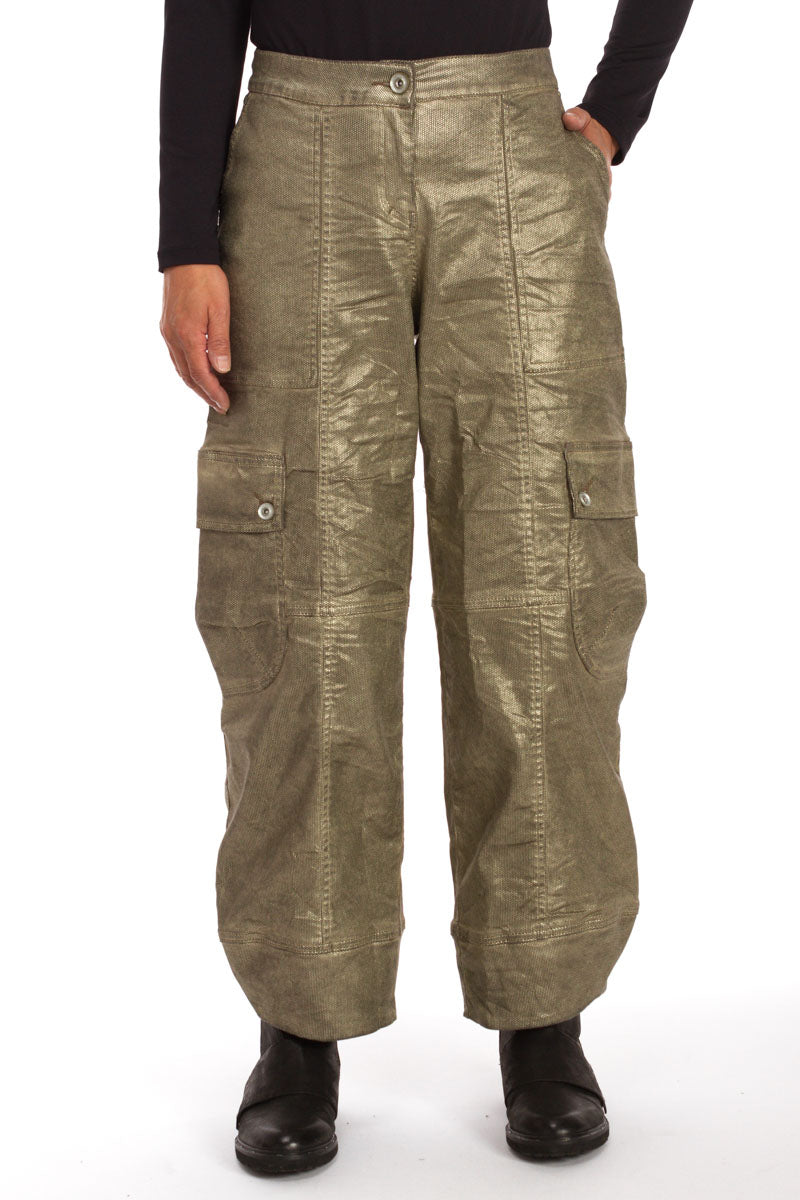 Metallic Cropped Balloon Pant