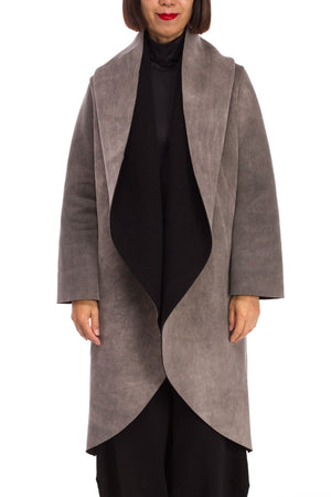 Wrap Coat in Rich Faux Suede