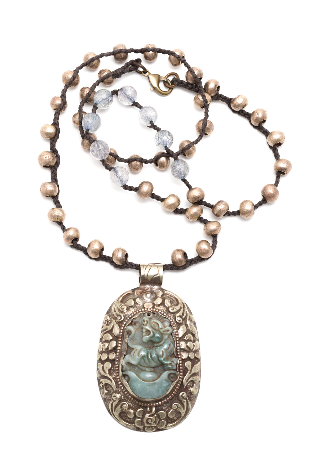 Carved Jade Pendant w/Silver African Beads
