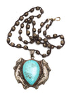 Antique Turq Animal Pendant w/African Beads