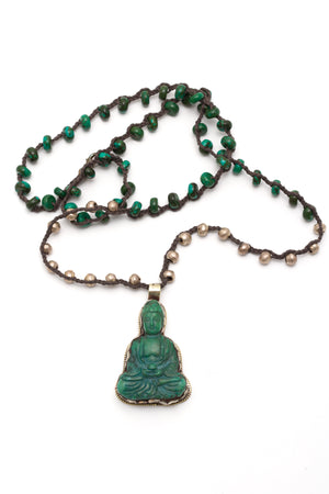 Carved Budda w/Green Turq/Silver Beads Necklace