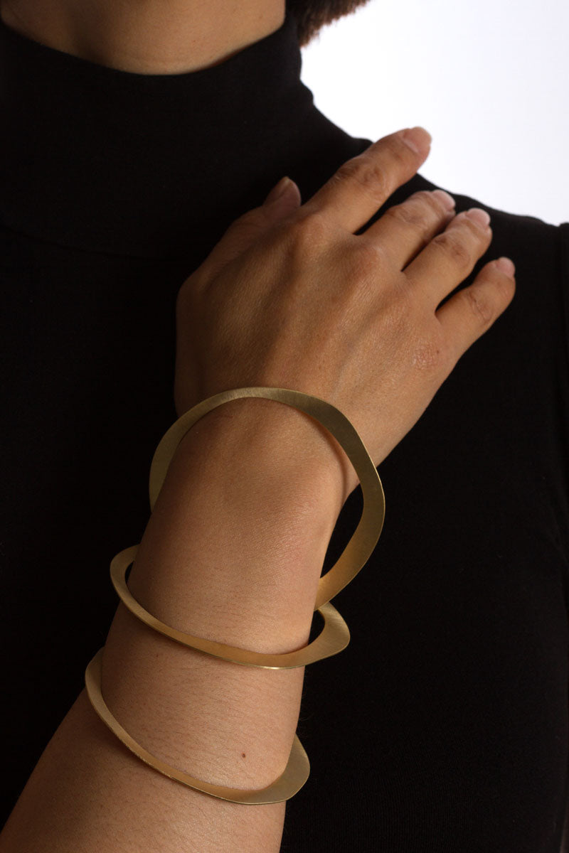 Set of 3 Irregular Shapes Bronze/Gold Bracelet