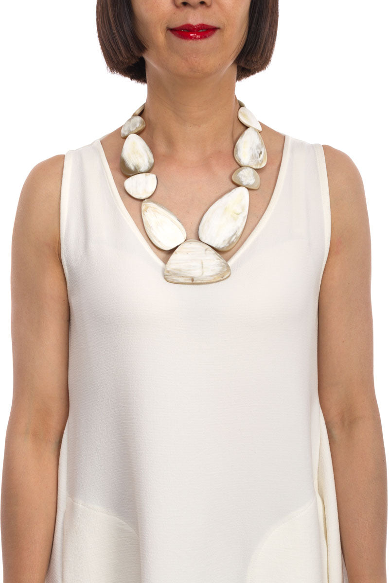 Horn And Stones Necklace in White