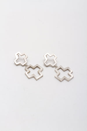 Double Cross Drop Earrings