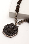 Carved Wood w/Sterling Pendant Necklace