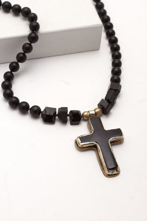 Nepalese Cross w/Onyx/Tourmaline