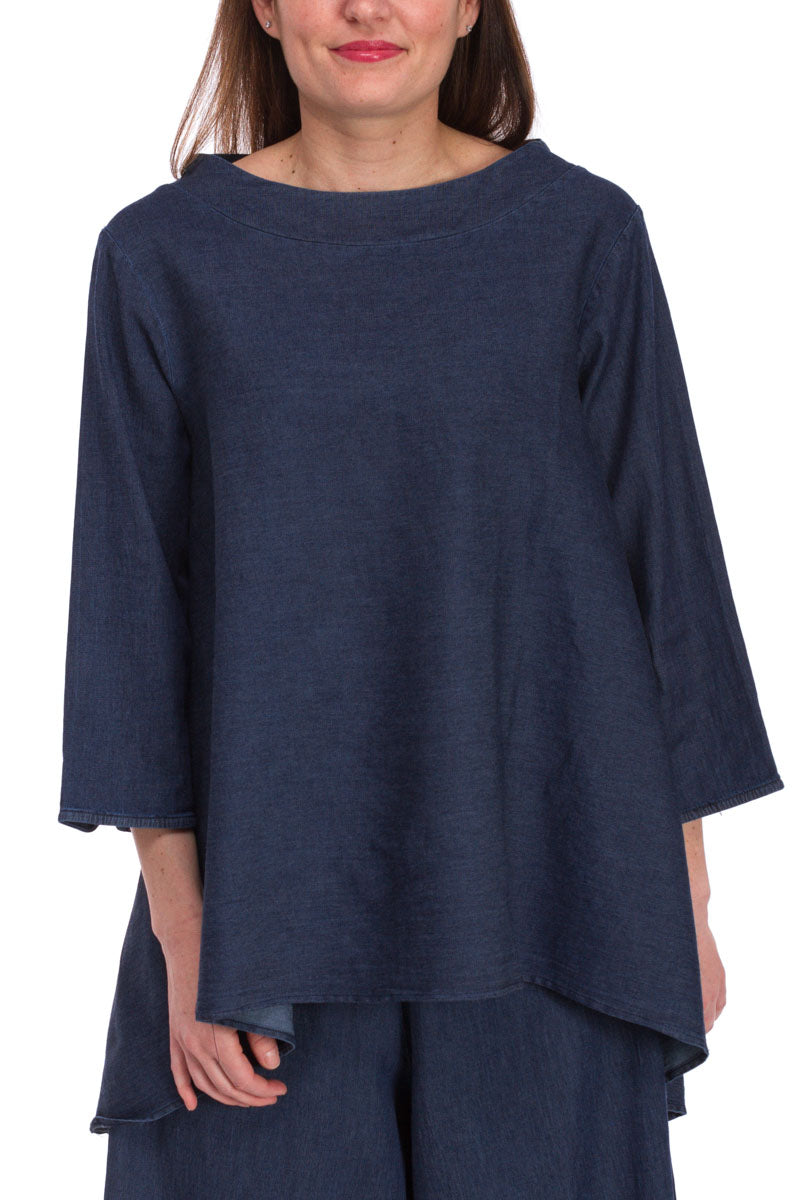 Denim Hi-Lo 3/4 Sleeve Top