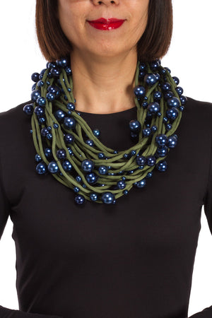 Navy Pearls w/Creen Cord Necklace