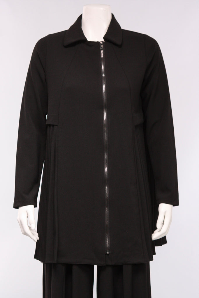 Side Pleated Jacket in Black