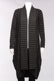 Side Swipe Long Cardigan in Charcoal Stripe