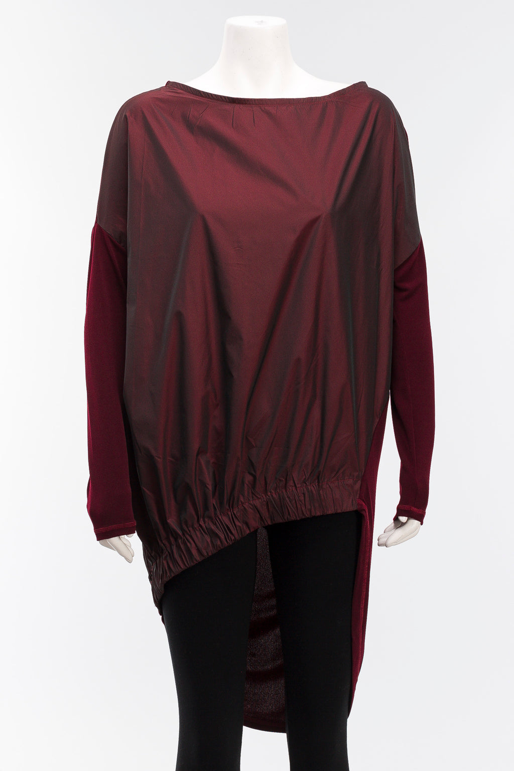 Taffeta Combo Tunic in Burgundy