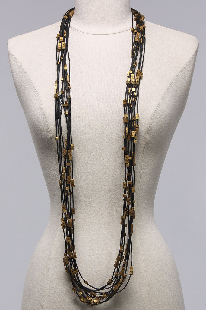 Rubber Strand 5x5 Beads (20) in Gold