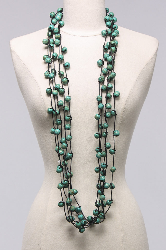 Rubber Knotted w Beads in Turquoise