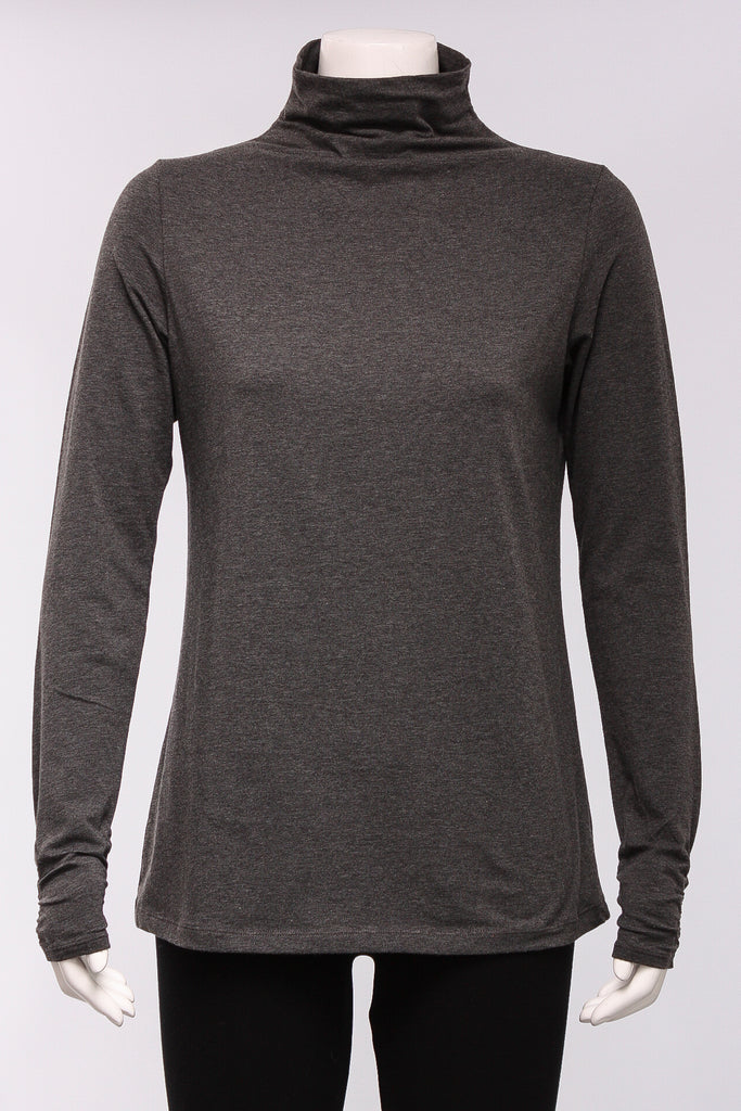 Funnel Neck Top in Charcoal