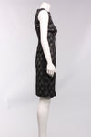 Sleeveless Foil Print Dress in Black/Silver Print