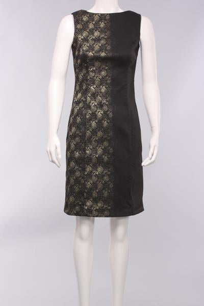 Sleeveless Foil Print Dress in Black/Gold Print