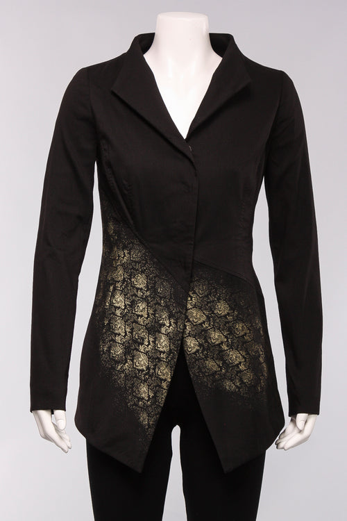 Foil Print Fitted Blazer in Black with Gold