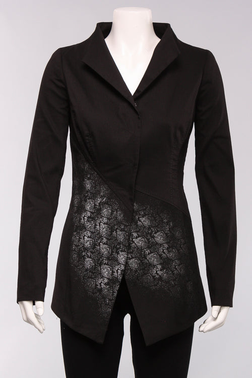 Foil Print Fitted Blazer in Black with Silver