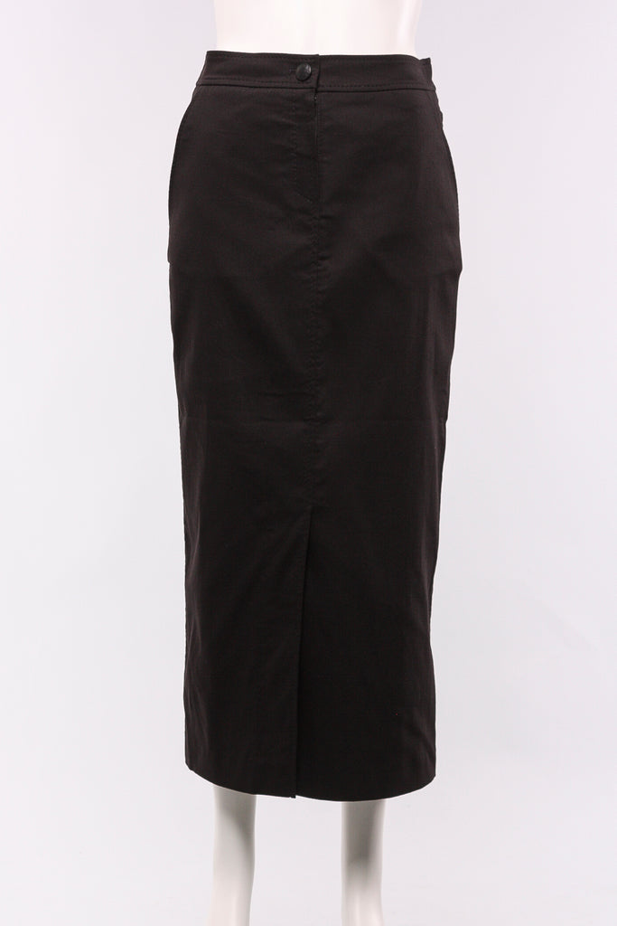 Long Foil Print Skirt in Black with Silver Print