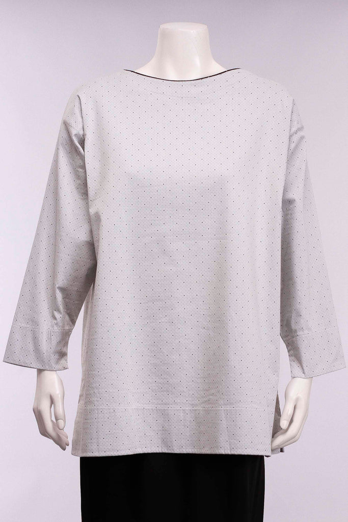 Boat Neck Top in White/Small Dot