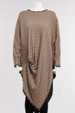 V Shaped Tunic in Black/Tan Stripe