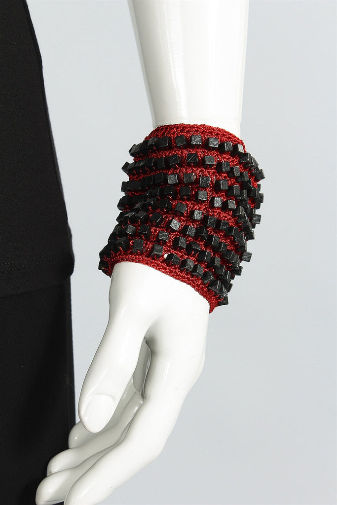 Crocheted Single Sided Bracelet in Black/Red 6023469621 - BLK/RED