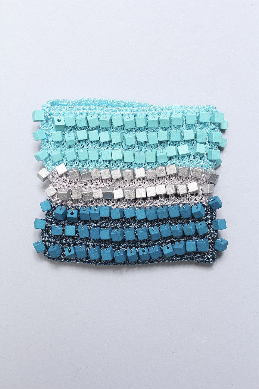 Crocheted Single Sided Bracelet in Turq/Silver/Teal 6023469623 - TRQGRYTL