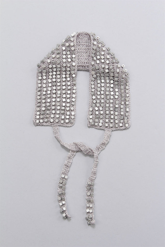 Crocheted Single Sided Collar in Silver 6023477168 - SILVER