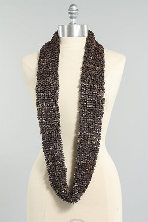 Crocheted Fishnet Scarf in Chocolate 6023484451 - CHOCLATE