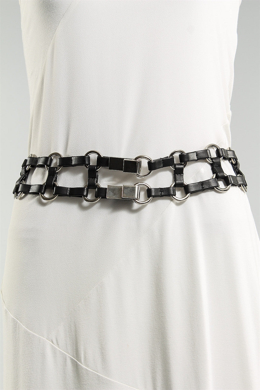 Squares Belt with Silver Rings