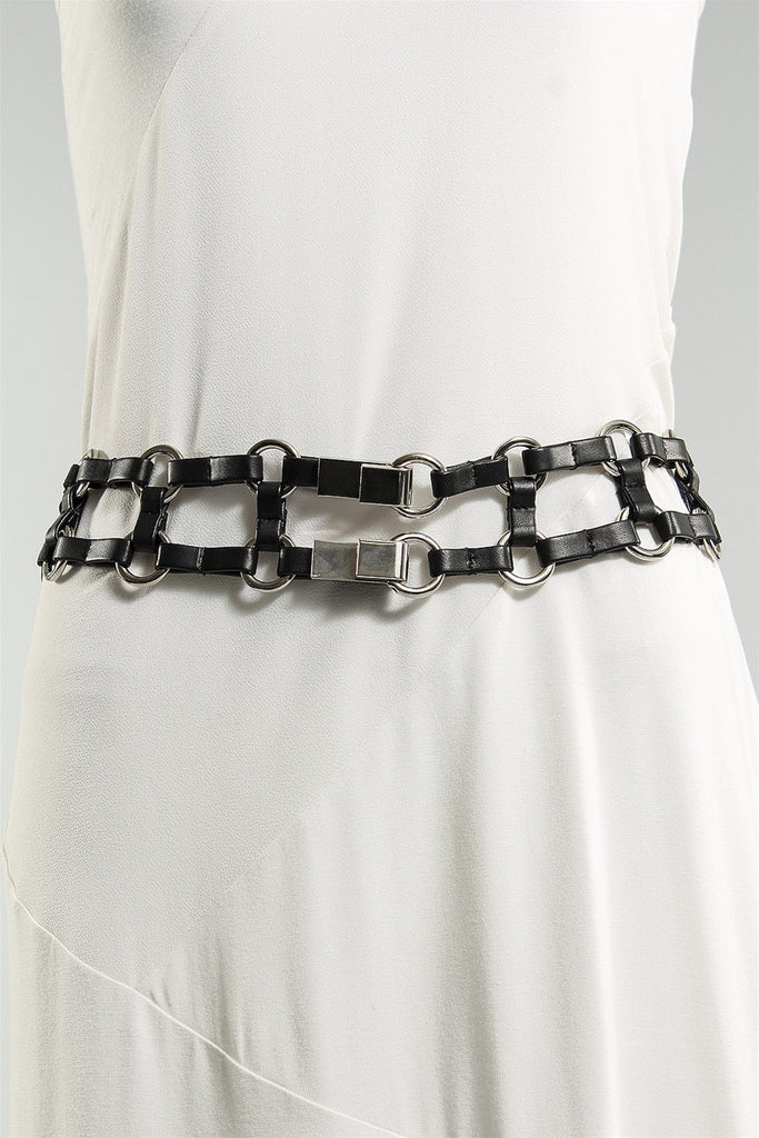 Squares Belt with Silver Rings in Black 6023484964 - BLACK
