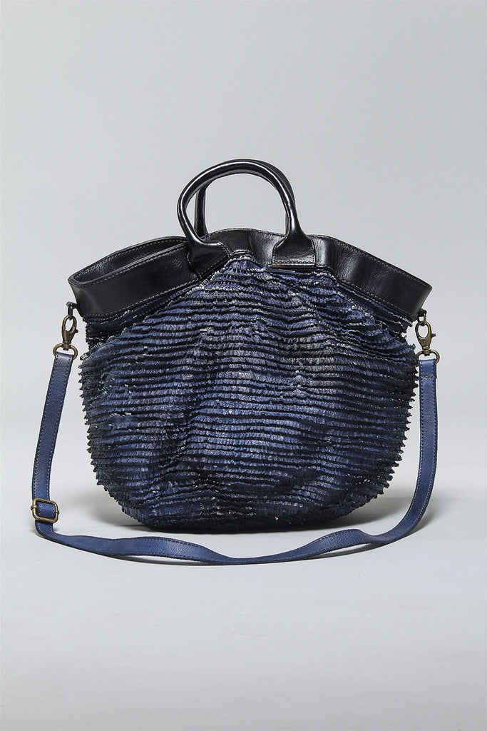 Drawstring Leather Bag in Abyss Silver BOFR181 - ABYSSLVR