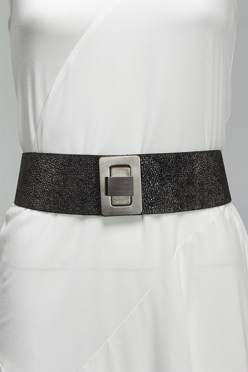 Black Textured Belt in Brushed Nickel 7062 - BRSHNCKL