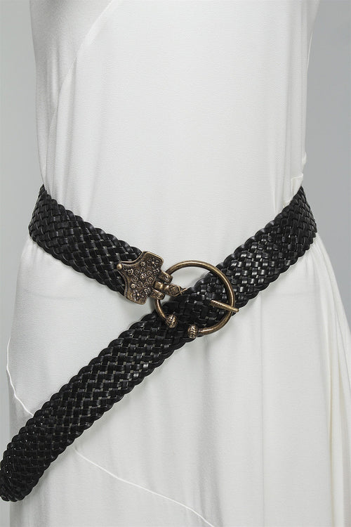 Black Braided Belt in Antique Gold 0101 - ANTGOLD