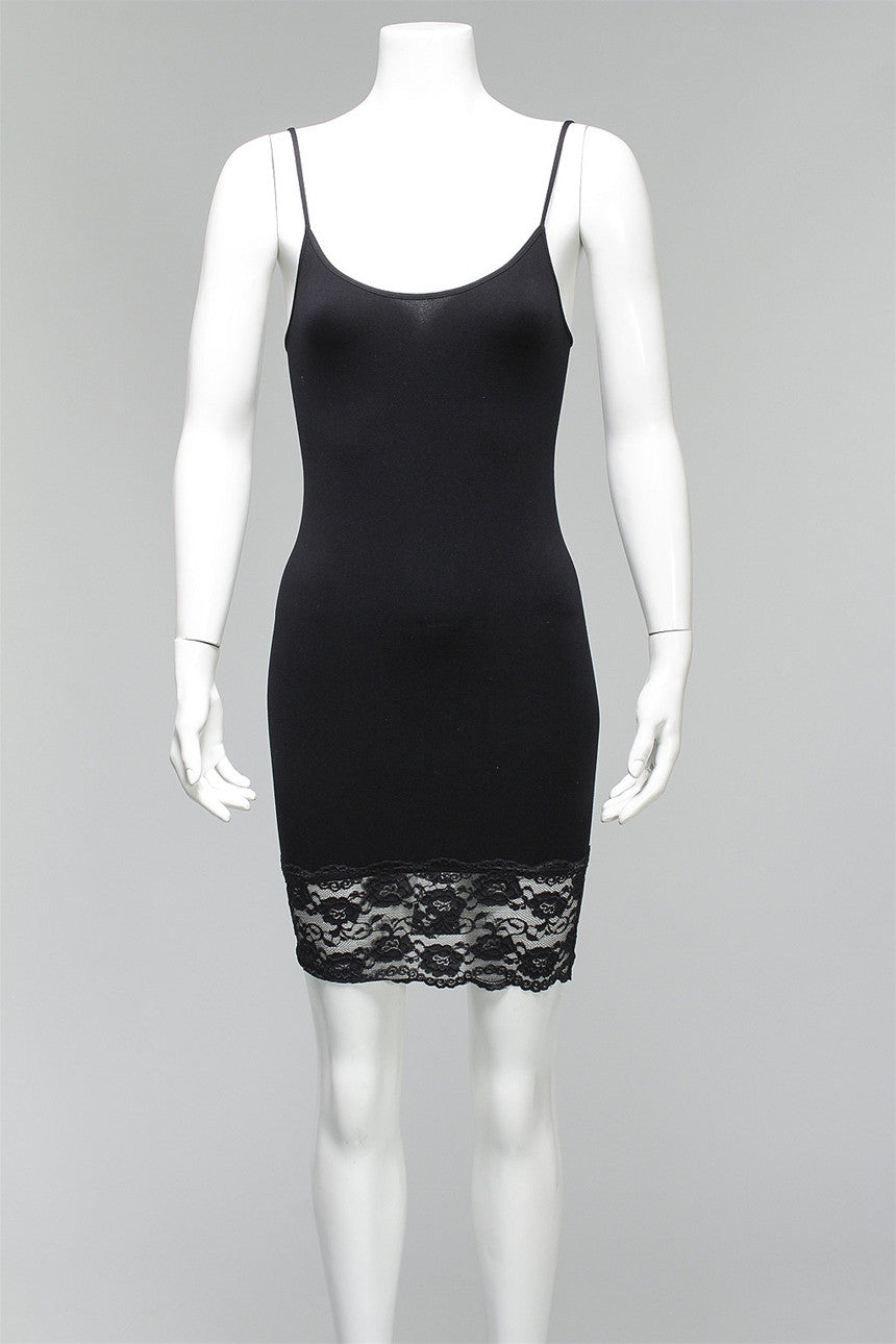 Cami Dress with Lace Trim in Black C3753 - BLACK