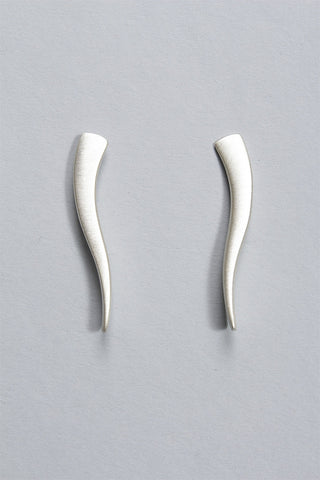Curve Spike Earrings in Sterling Silver C-GPE6 - STERLING