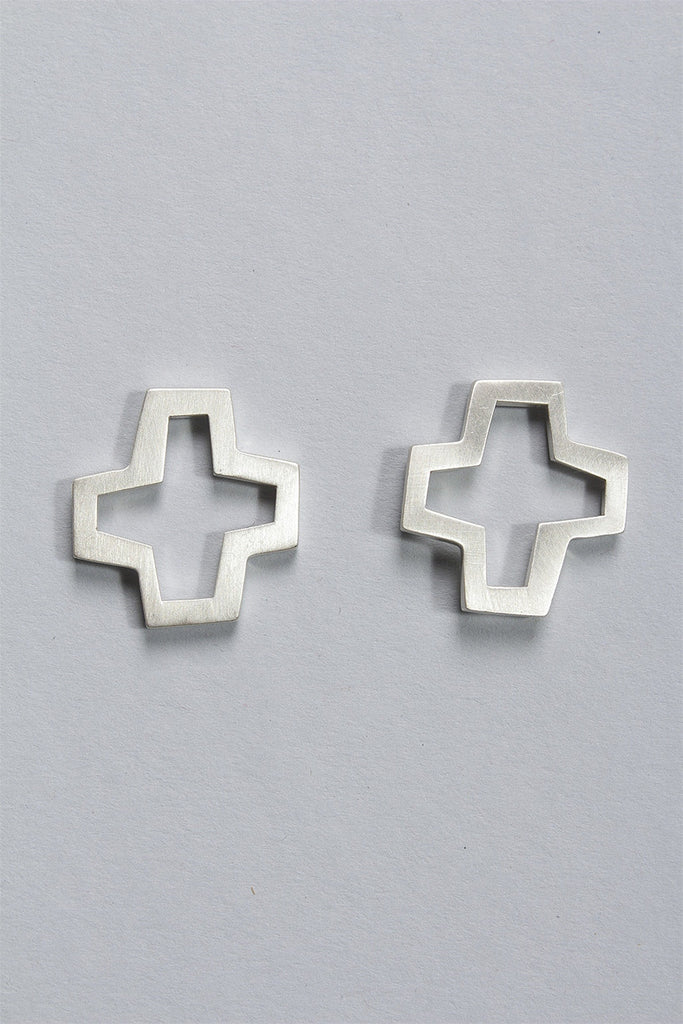 Small Cross Earrings in Sterling Silver C-GPE10 - STERLING