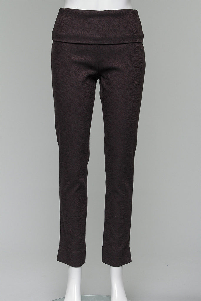 Fold Over Waist Pants in Coffee/Black 156-346-117  - COFF/BLK