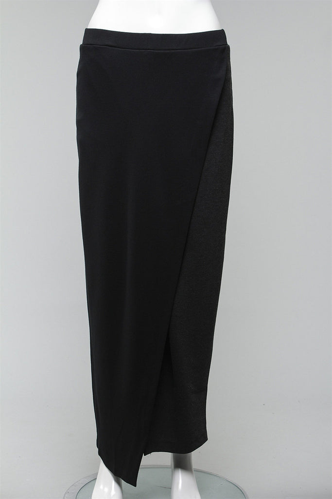 Two Tone Skirt in Charcoal K401 - CHARCOAL