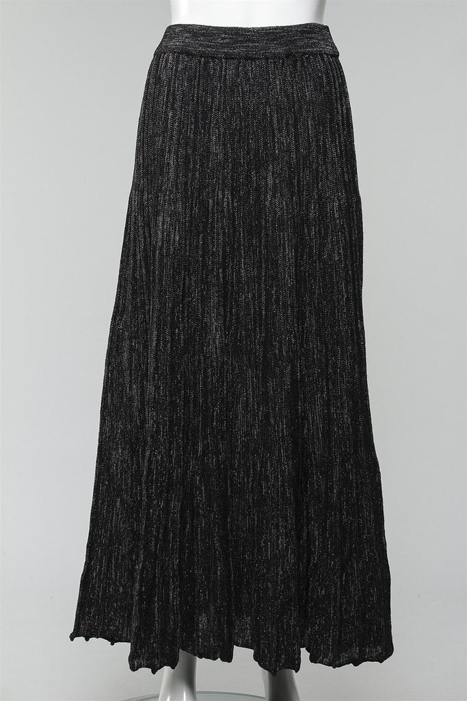 Pleated Knit Skirt in Black JH3191 - BLACK