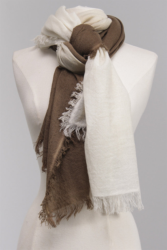 Fringed Dipped Scarf in Beige DC109-CA - BEIGE
