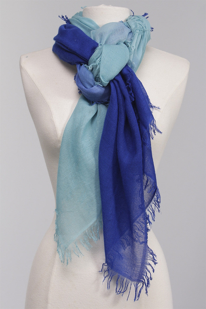 Fringed Dipped Scarf in Pool DC131-CA2 - POOL