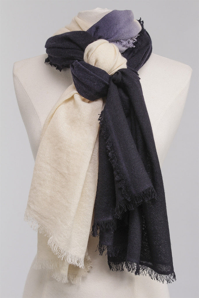 Fringed Dipped Scarf in Navy DC102-CA - NAVY