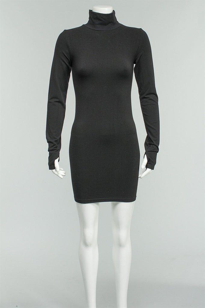 Mockneck Seamless Dress in Black S3333 - BLACK
