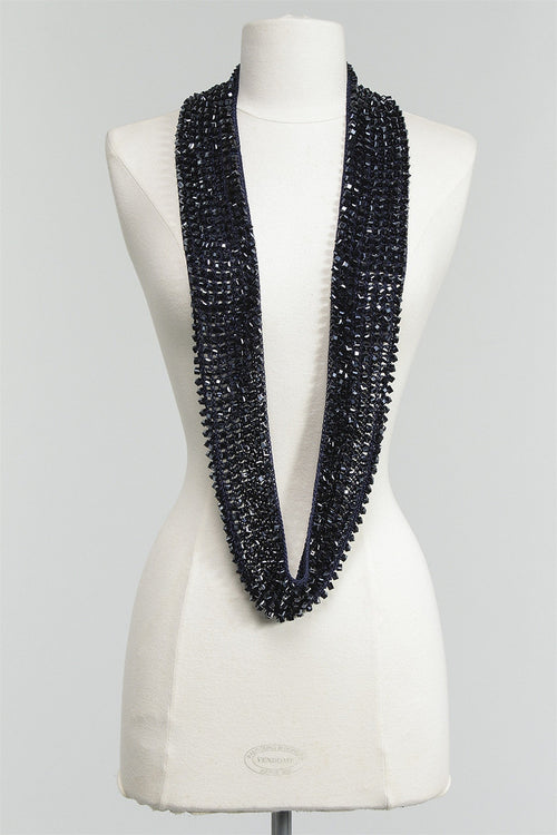 1 Sided Crystal Necklace in Navy C-NL1415-S16 - NAVY