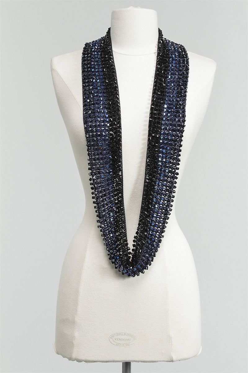 1 Sided Crystal Necklace Striped in Black/Navy/Blue C-NL1520STP-S16 - BKNVYBL