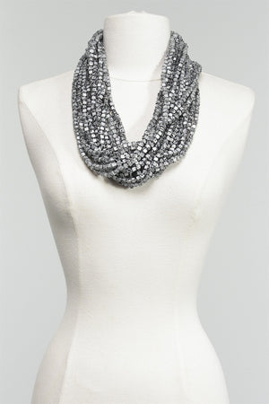 Hand Painted Pashmina in Silver/Black C-NL1094HP-S16 - SLVR/BLK