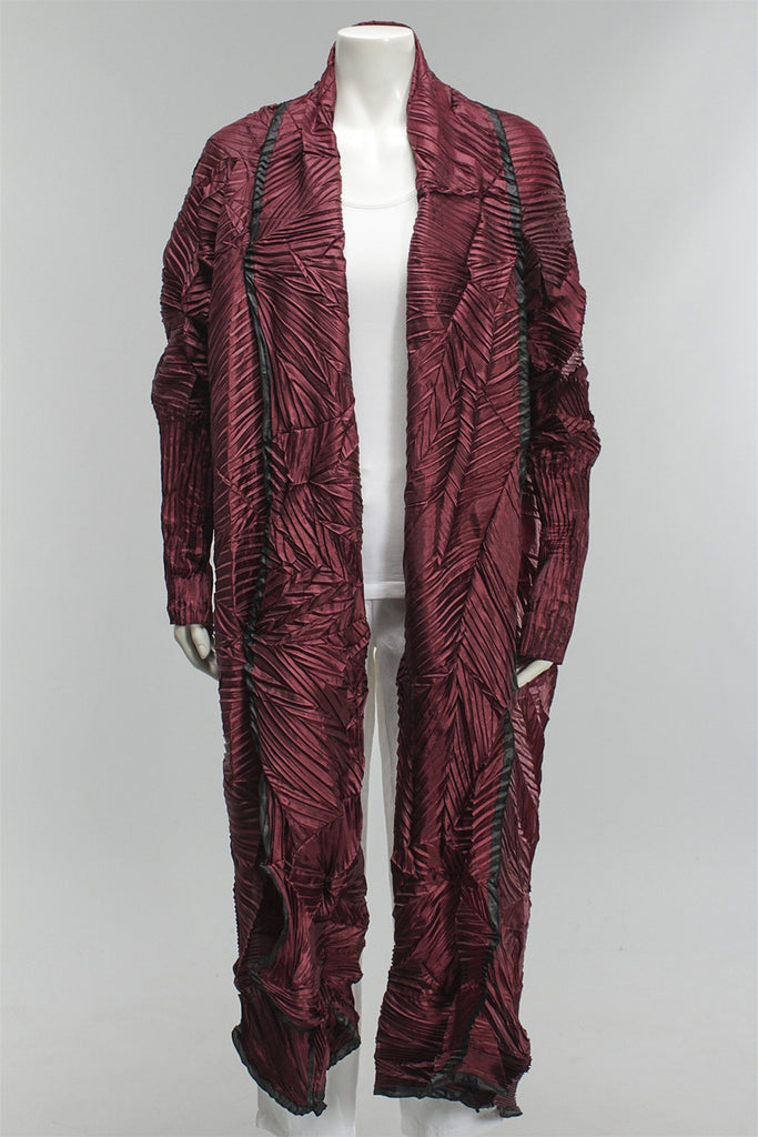 Z Pleat Shawl with Sleeves in Wine 121815-49 - WINE