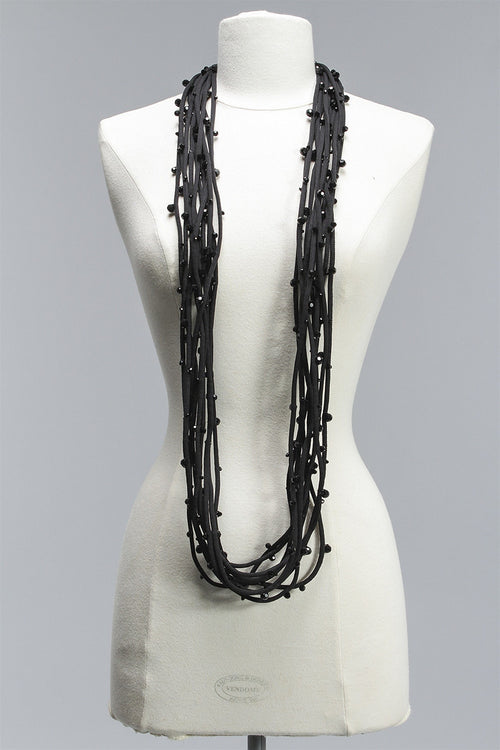 Cord with Small Crystals 10 Strand in Black C-NL1609S - BLACK