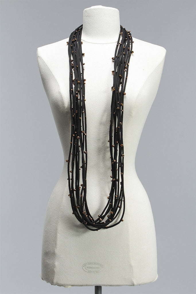 Cord with Small Crystals 10 Strand in Bronze C-NL1609S - BRONZE